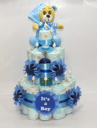 "Windeltorte ""It's a Boy"" + Bär blau"