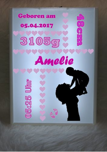 LED - Leuchtbox - Mama mit Baby in Luft- rosa
